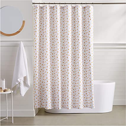 Image Unavailable Not Available For Color AmazonBasics Gold Foil Polka Dot Shower Curtain