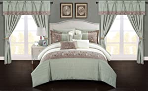 Chic Home Sonita 20 Piece Comforter Set Color Block Floral Embroidered Bag Bedding-Sheets Window Treatments Decorative Pillows Shams Included, King, Sage