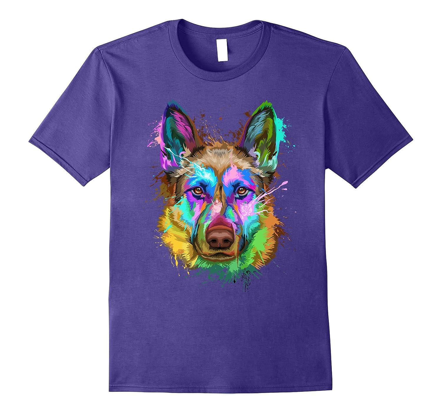 Splash Art German shepherd T-Shirt   Puppy Lover Gift-ANZ