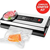 Vacuum Sealer - Auto Stainless Steel Food Vacuum Sealer Machine with Starter Kit of Hose Vacuum Sealer Rolls and Bags - Automatic Wine Bottle Sous Vide Vacuum Sealer System for Dry and Wet Food
