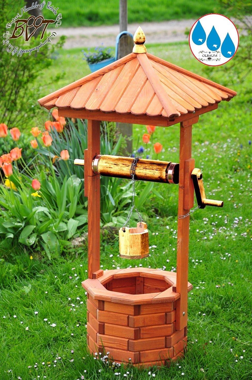 XXL Diseño de pozo, con dorado metálico, Jardín Brunnen aprox. 130 – 140 cm, einstöckig clásico con rollo & cubo EXP140 de gris de OS, completamente funcionales, con detalles, Gris claro Cadena
