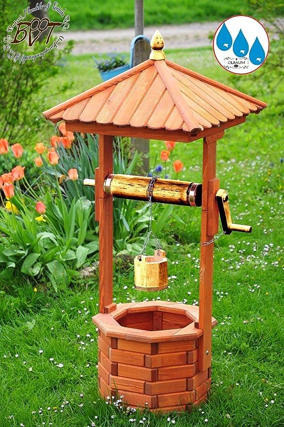 XXL Diseño de pozo, con dorado metálico, Jardín Brunnen aprox. 130 – 140 cm, einstöckig clásico con