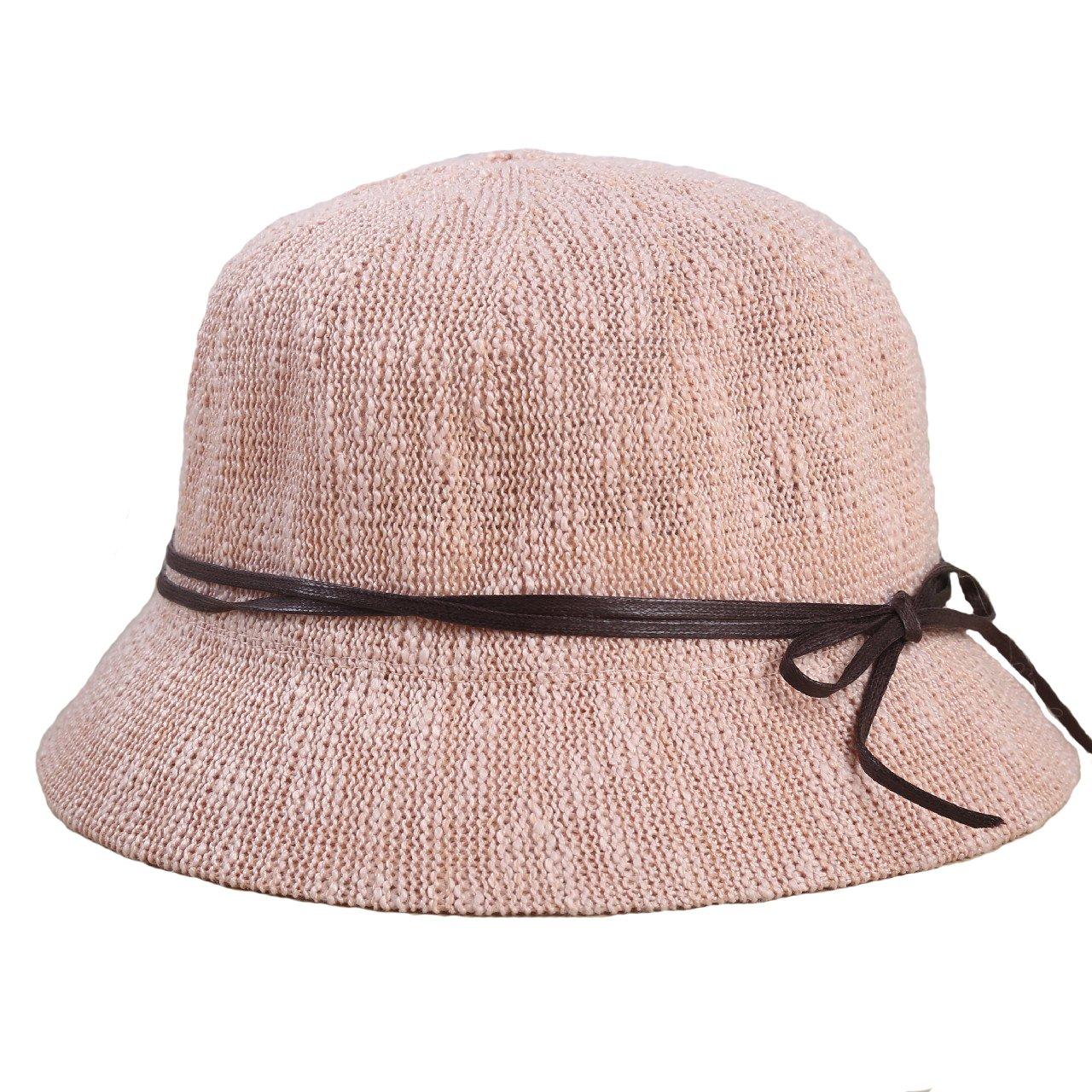 SUPERCB Women's Vintage Bucket Bowler Sun Hat Summer Beach Bowknot Pink