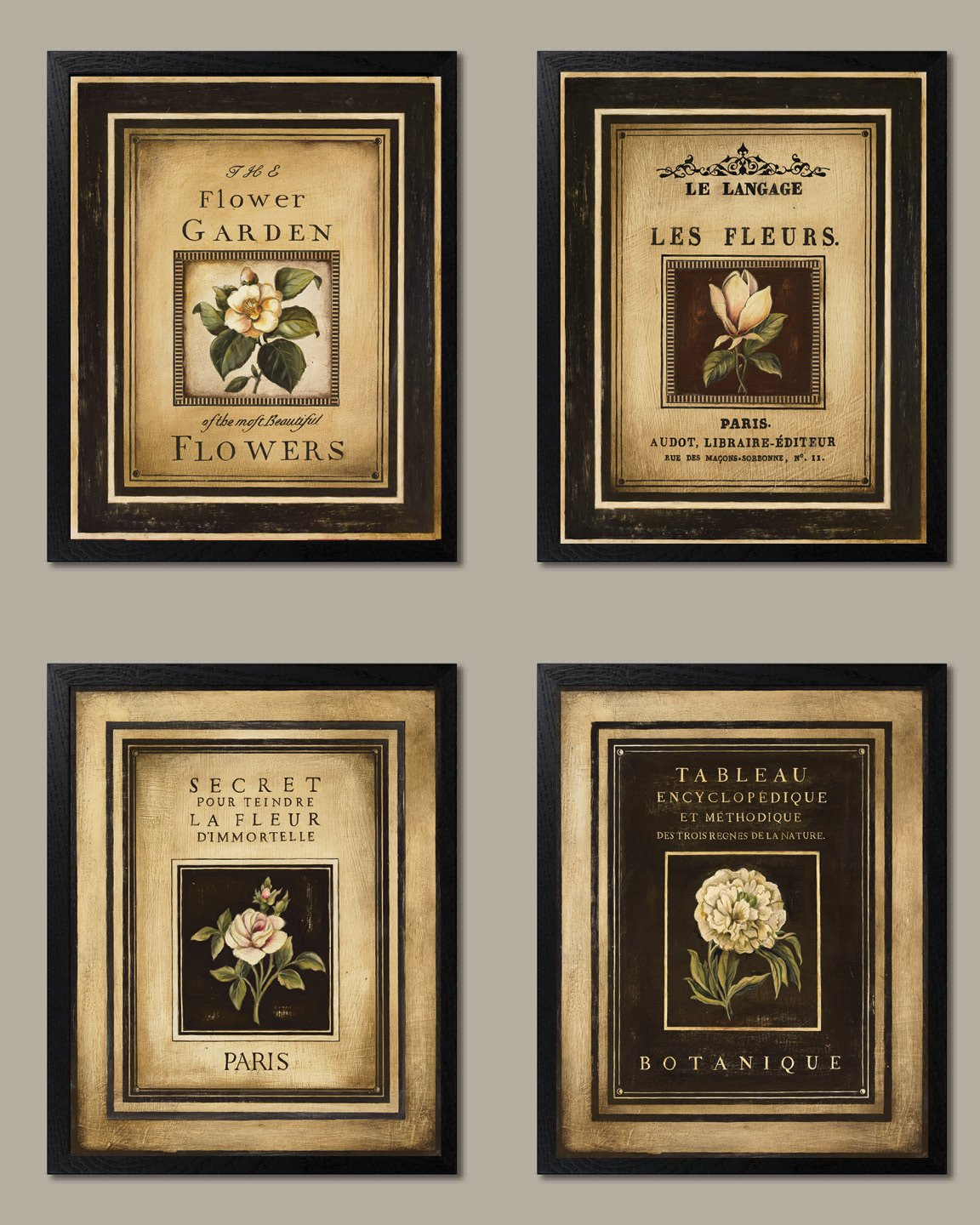 Gango Home Decor Framed Flower Garden; Lovely, Vintage French Floral Signs; Four Framed 8x10 Prints