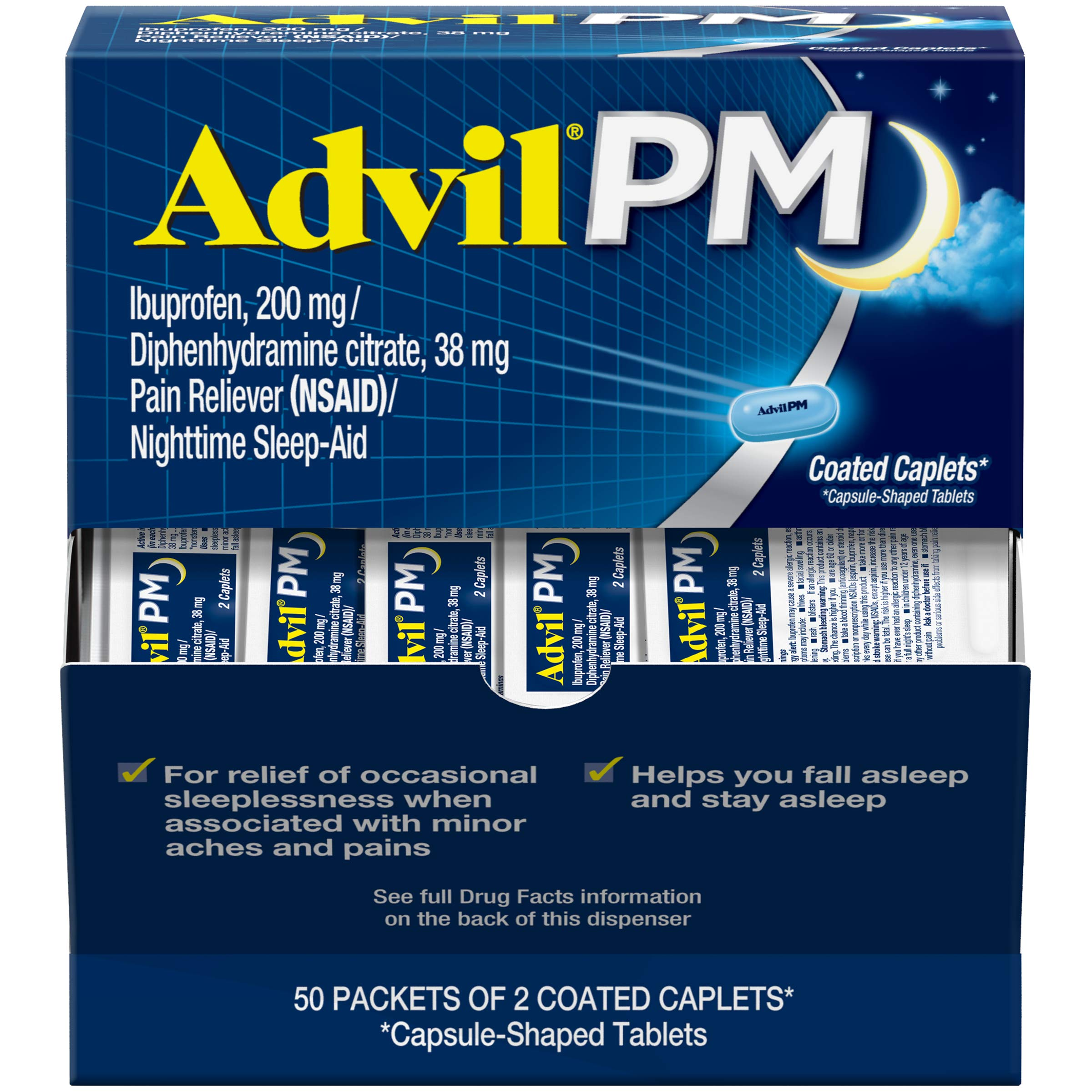Advil PM (50 x 2 Packets - 100 Count) Pain Reliever / Nighttime Sleep Aid Coated Caplet, 200mg Ibuprofen, 38mg Diphenhydramine