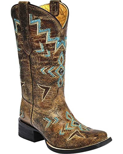 1193ccb4ccc CORRAL Girls' Studded Embroidered Cowgirl Boot Square Toe