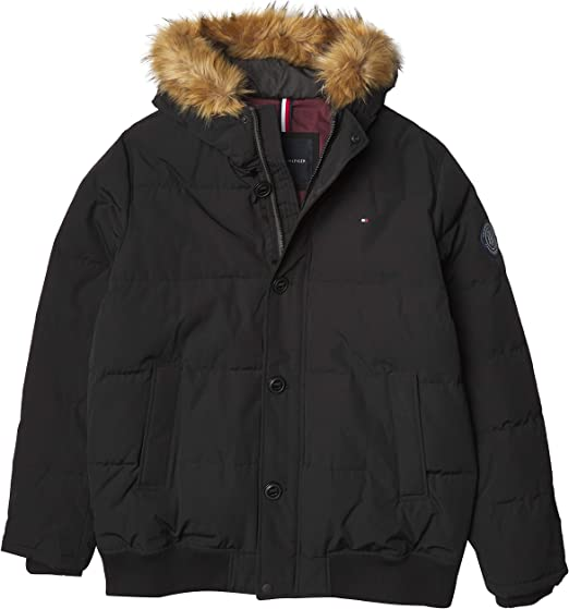 Down Alternative Coat Tommy Hilfiger mens Arctic Cloth Full Length Quilted Snorkel Jacket Regular and Big and Tall Sizes