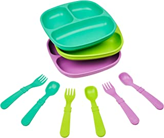 product image for Re-Play Made in The USA Dinnerware Set - 3pk Divided Plates with Matching Utensils Set (Mermaid)