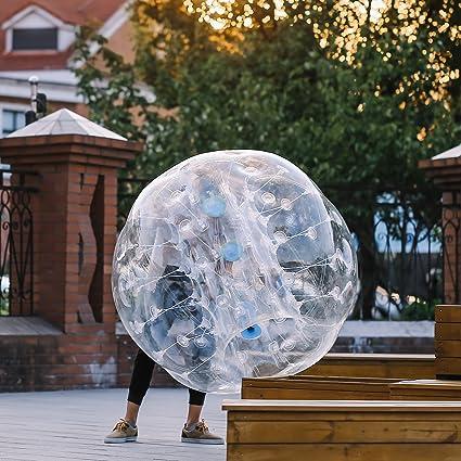 TravelerK Burbuja Fútbol Inflable Bubble de Material de 0.8mm PVC de diámetro 1.5m disfraz de burbujas para niños y adultos Punto Azul: Amazon.es: Juguetes ...