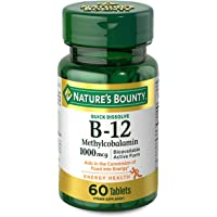 Nature's Bounty Vitamin B-12 Supplement, Supports Metabolism and Nervous System Health, 1000mcg, 60 Tablets