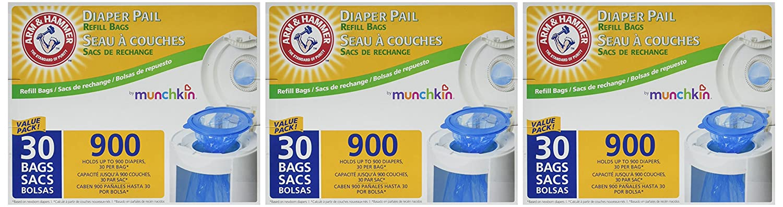 Amazon.com: Munchkin All New Mega Pack Arm & Hammer Diaper Pail Refill Bags -90 Bags: Baby