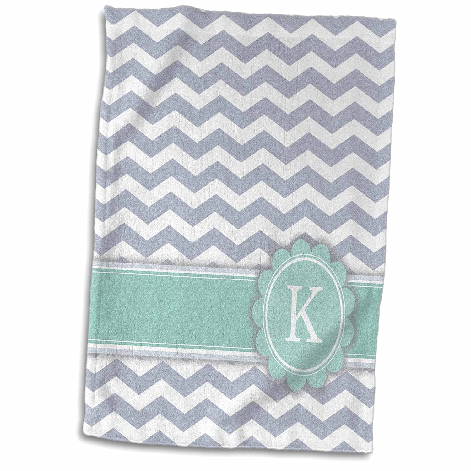 Gray Zigzags Personal Initial Zig Zags Towel 15 x 22 Multicolor 3dRose twl/_154230/_1 3D Rose Letter K Monogrammed On Grey and White Chevron with Mint