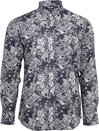 41107cc9996 Relco Mens Navy Blue   White Floral Paisley Long Sleeved Button Down  Vintage Shirt Mod 60s