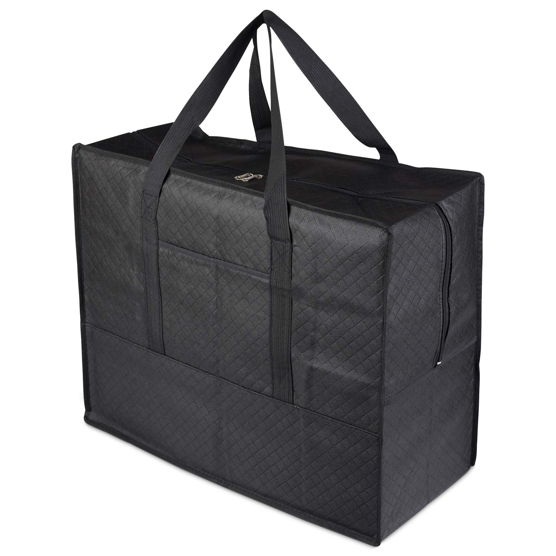 Moving 60 x 50 x 27 cm,negro de cama de funda de edred/ón Zuvo pr/áctica bolsa de almacenamiento grande 60L impermeable resistente Jumbo Bolsa de almacenamiento con mango web Underbed bolsa de almacenamiento para mantas 6 lavander/ía