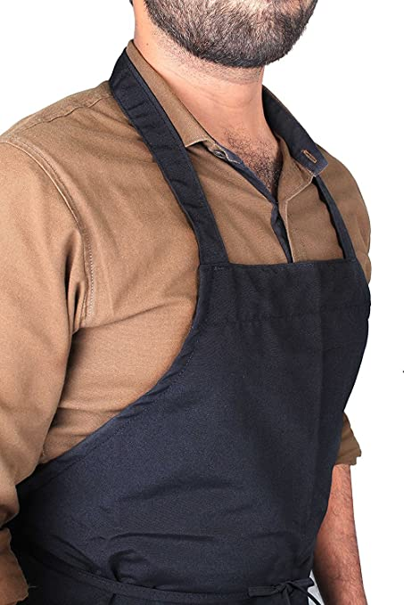 Kitchen Kemistry Lot de 2/tabliers noirs de chef pour boucherie cuisine bistrot h/ôtellerie /école restaurant barbecue qualit/é professionnelle
