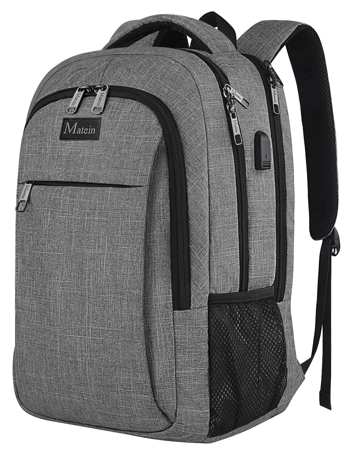 d78431dc7946 MATEIN Mens Anti-Theft Waterproof Travel Laptop Backpack with USB Charging  Port Fits 15.6 Inch Laptops Grey