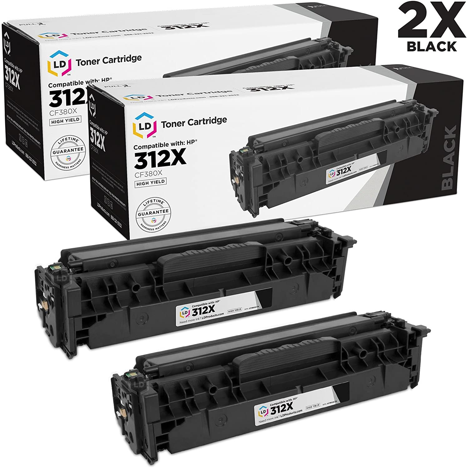 LD Remanufactured Toner Cartridge Replacement for HP 312X CF380X High Yield (Black, 2-Pack)