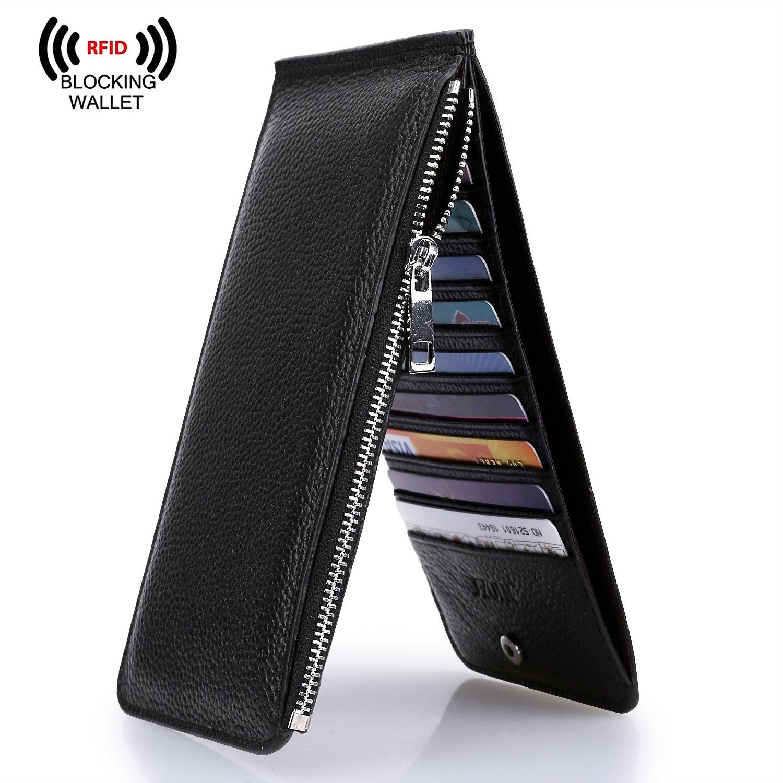 On Sale - S-ZONE Women's RFID Blocking Genuine Leather Multi Card Holder Organizer Wallet with Zipper Pocket (Black)