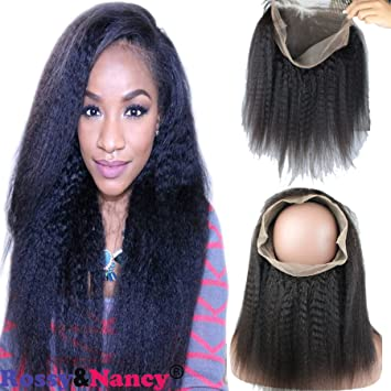 62c55d5af5f Rossy&Nancy Kinky Straight 360 Lace Frontal Brazilian Virgin Human Hair  Italian Yaki 360 Circular Frontal...