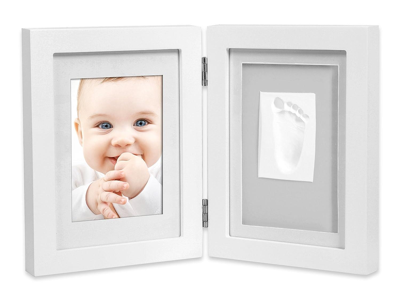 Marco de fotos para bebé para huella de mano y pie 3D, Portafotos de madera con molde de yeso, blanco,+ Regalo de un babero- Danielstore (16 X 21): ...