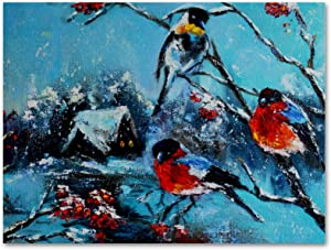 imobaby Oil Painting on Canvas Winter Snow Bullfinch Birds Prints with Wooden Frame for Bedroom Home Living Room Office Modern Wall Art Decor, 13.7x19.6 in