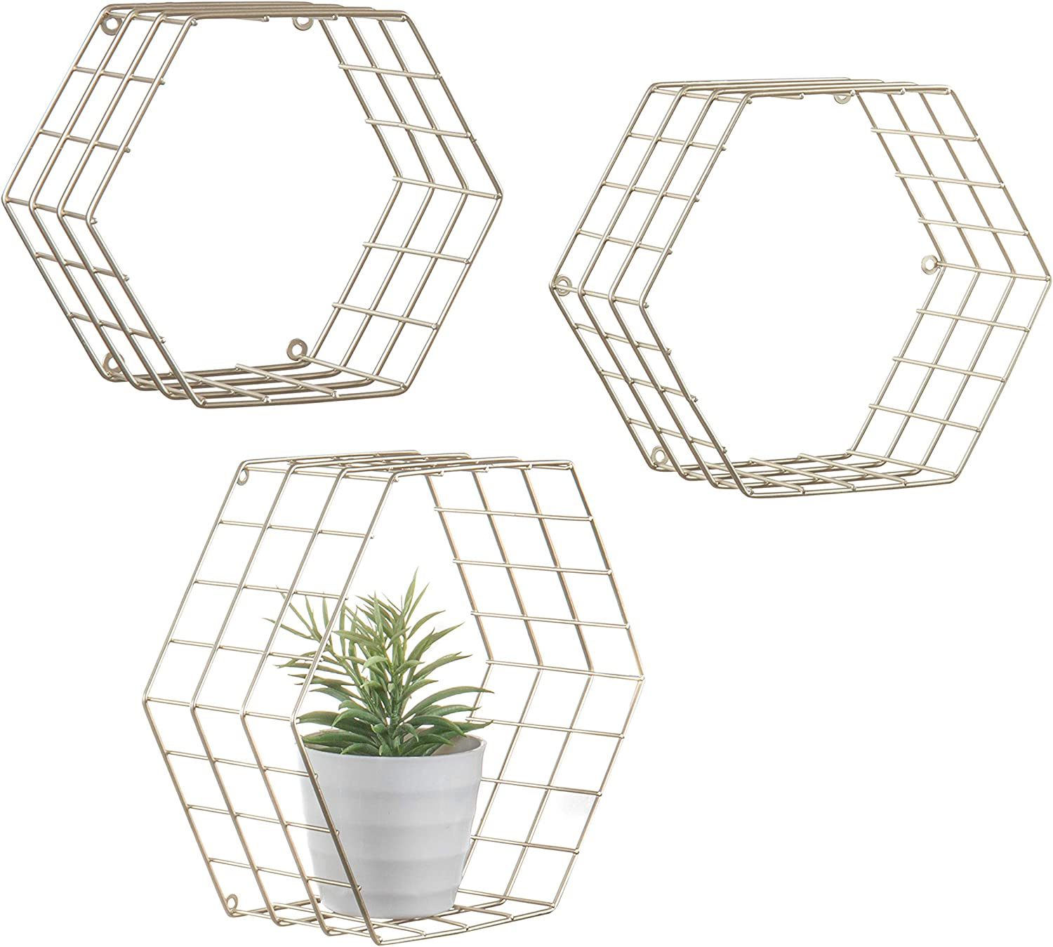 MyGift Hexagonal Brass-Tone Wire Wall-Mounted Hanging Shelves, Set of 3