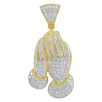 Amazon praying hands pendant fully iced out simulated diamonds praying hands pendant fully iced out simulated diamonds real 14k gold charm on sale aloadofball Choice Image