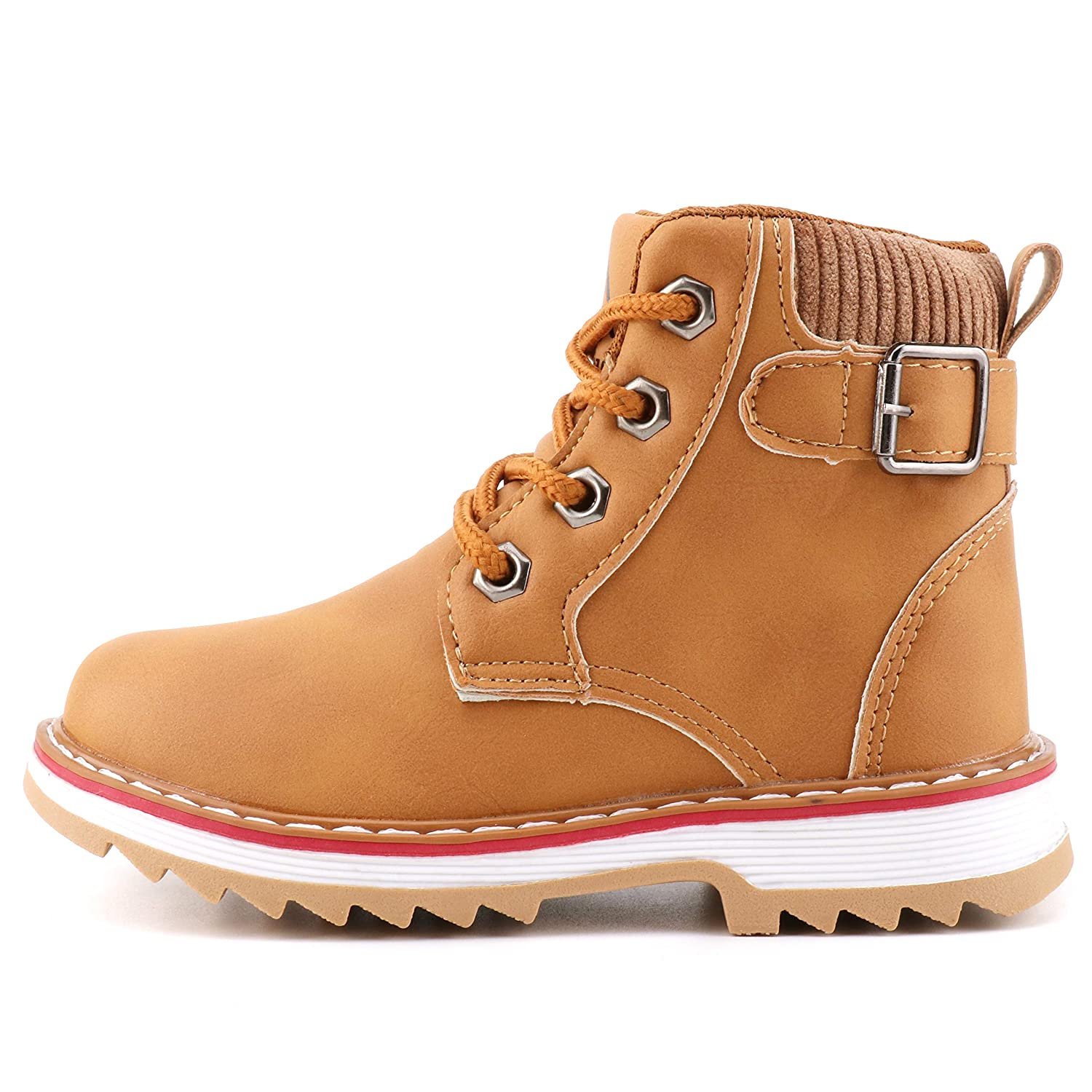 70306c5bf3c Femizee Boys Lace Up Work Boots Classic Waterproof Hiking Booties ...