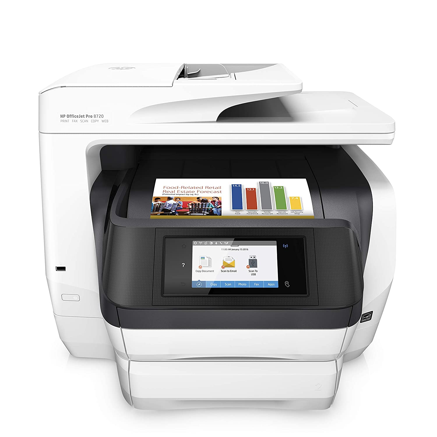 HP M9L75A#B1H OfficeJet Pro 8720 All-in-One Wireless Printer with Mobile Printing, Instant Ink ready - White (M9L75A)