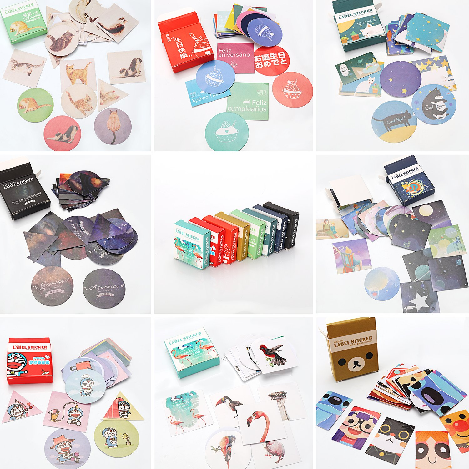 Molshine 320pcs Label Stickers- Cute Decorative Boxed Stickers for Personalize Laptops, Skateboards, Luggage, Cars, Bikes, Bicycles, Books