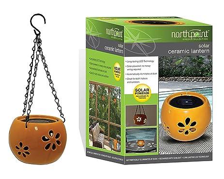 Solar Garden Ceramic Hanging Or Standalone Lanterns   Set Of 2