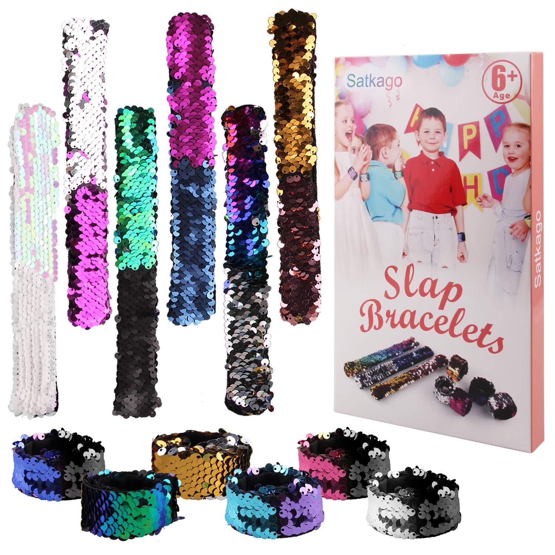 Satkago 12 Pcs Mermaid Slap Bracelets Birthday Party Favors for Kids, Two-Color Decorative Reversible Sequin Bracelets, Great Dance Gymnastics Party Favors, Class Prizes for Kids, Girls, Boys, Women eFun