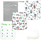 Langsprit Baby Cloth Diaper with Highly Absorbent Bamboo Inserts & Wet Bag,Reusable Unisex Baby Diapers, (Animal)
