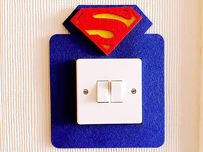 3d super cool superman icon light switch wall sticker vivid bright colours premium quality thick felt material unique on amazon