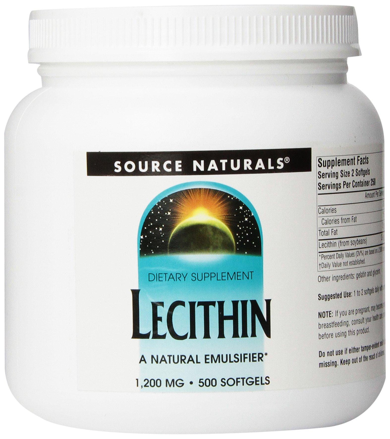 Source Naturals Lecithin 1200mg, A Natural Emulsifier, 500 Softgels