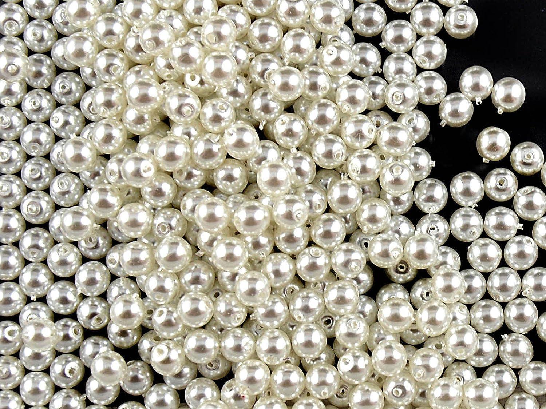 100pc Ceco Vetro Pressato Perle, Imitazione di perle, Tondo Diametro 4 mm, Colore: White Pearl Jablonex