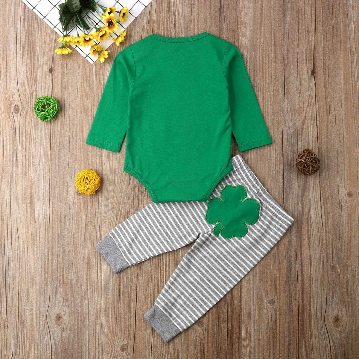xkwyshop Newborn Infant Baby St Pants Outfit Baby Boys Girls Clover Clothes Set 2PCS Patricks Day Romper
