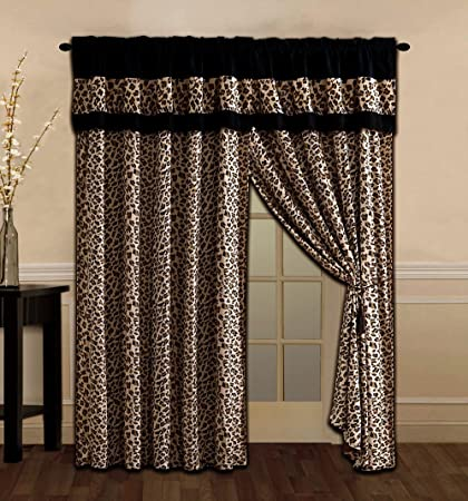 679f1b5cb21 4 Piece Brown / Black Leopard Leopard Print Microfur Curtain set with  attached Valance and Sheers