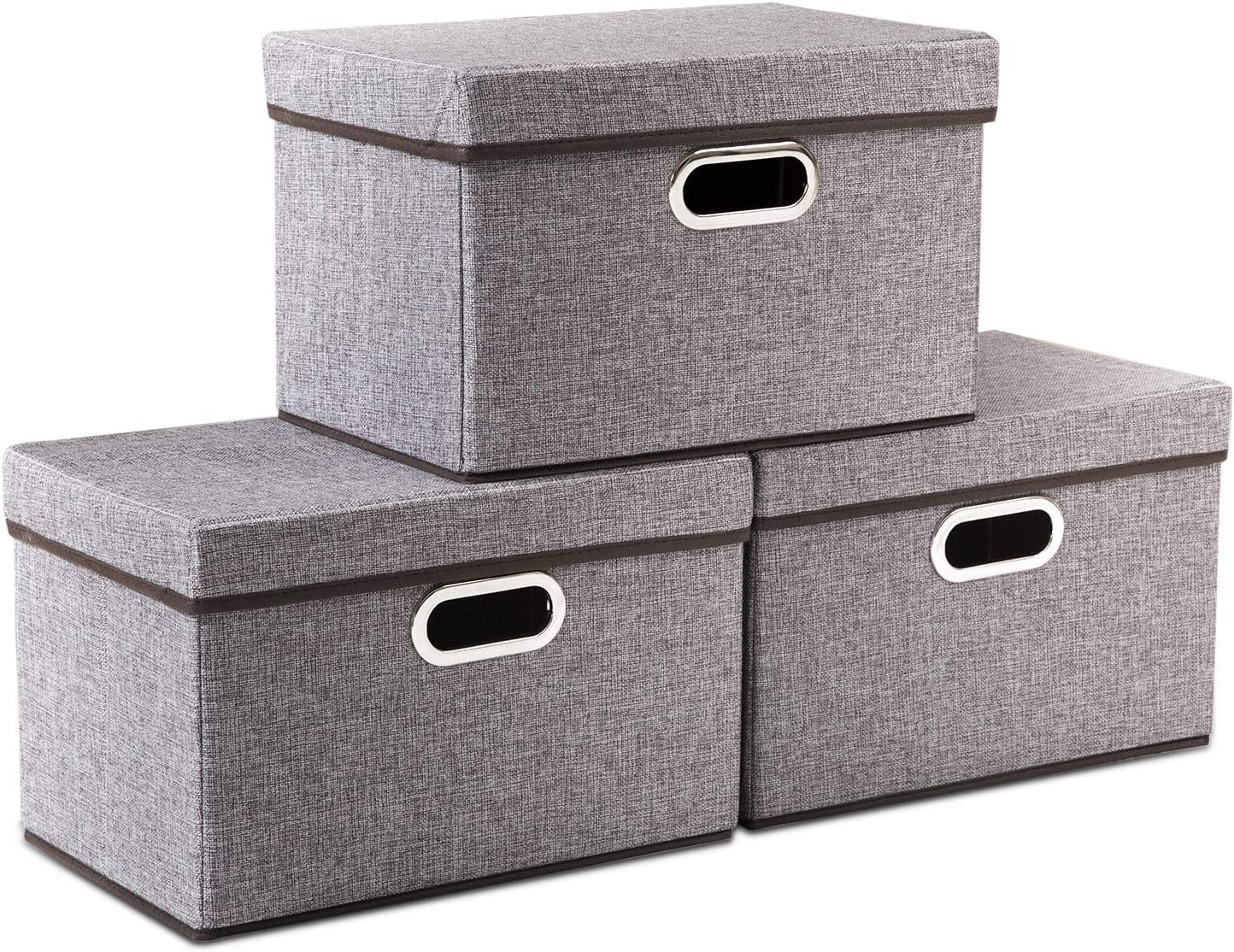 Prandom Foldable Storage Boxes with Lids [3-Pack] Linen Fabric Collapsible Storage Bins Organizer Containers Baskets Cube with Cover for Home Bedroom Closet Office Nursery (15x10x10)