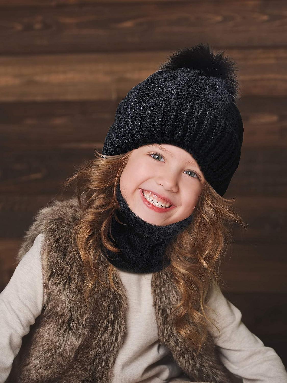 SATINIOR Cappello Guanti Sciarpa Invernale per Bambini Cappello a Cuffia Guanti a Maglia con Sciarpa Spessa Fodera Calda