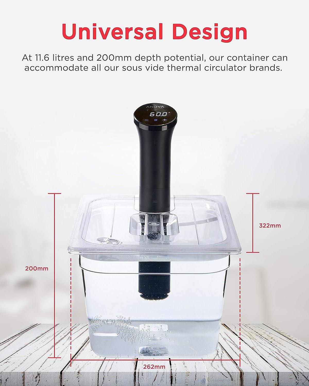 Sous Vide Tools SVT-PS11GN - Recipiente con tapa de corte personalizada, policarbonato, 11,6 litros, transparente: Amazon.es: Industria, empresas y ciencia