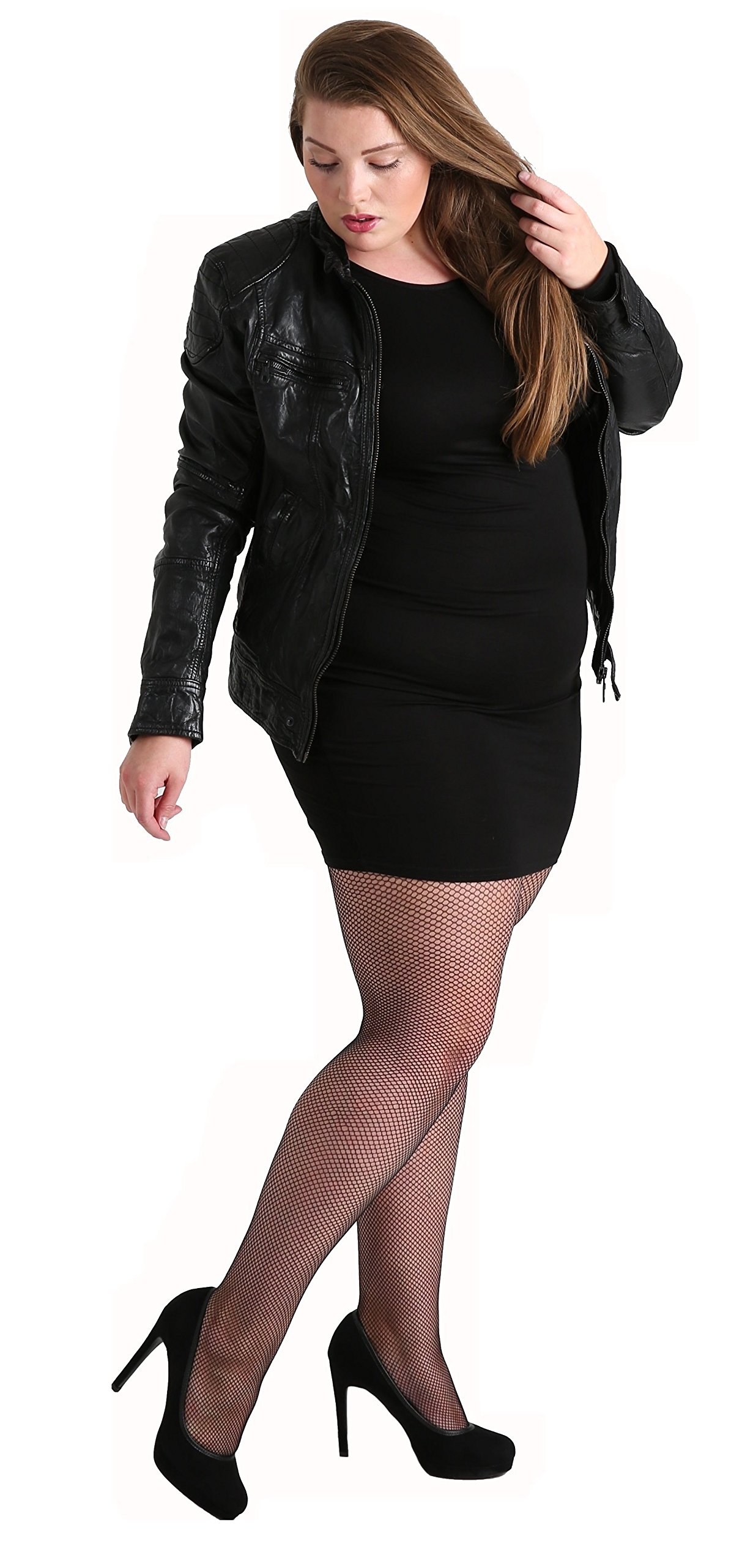 Plus Size Luxury Fishnet Tights Black. Special Pantyhose Lingerie for Large Sizes [Made in Italy] (24-28)