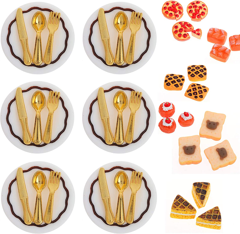 6 Sets 24 Pcs Dollhouse Dining Table Set, Including 6 Pcs Dollhouse Miniature Plates and 18 Pcs Metal Knife Fork Spoon Dollhouse Tableware, with 10 Pcs Dollhouse Food