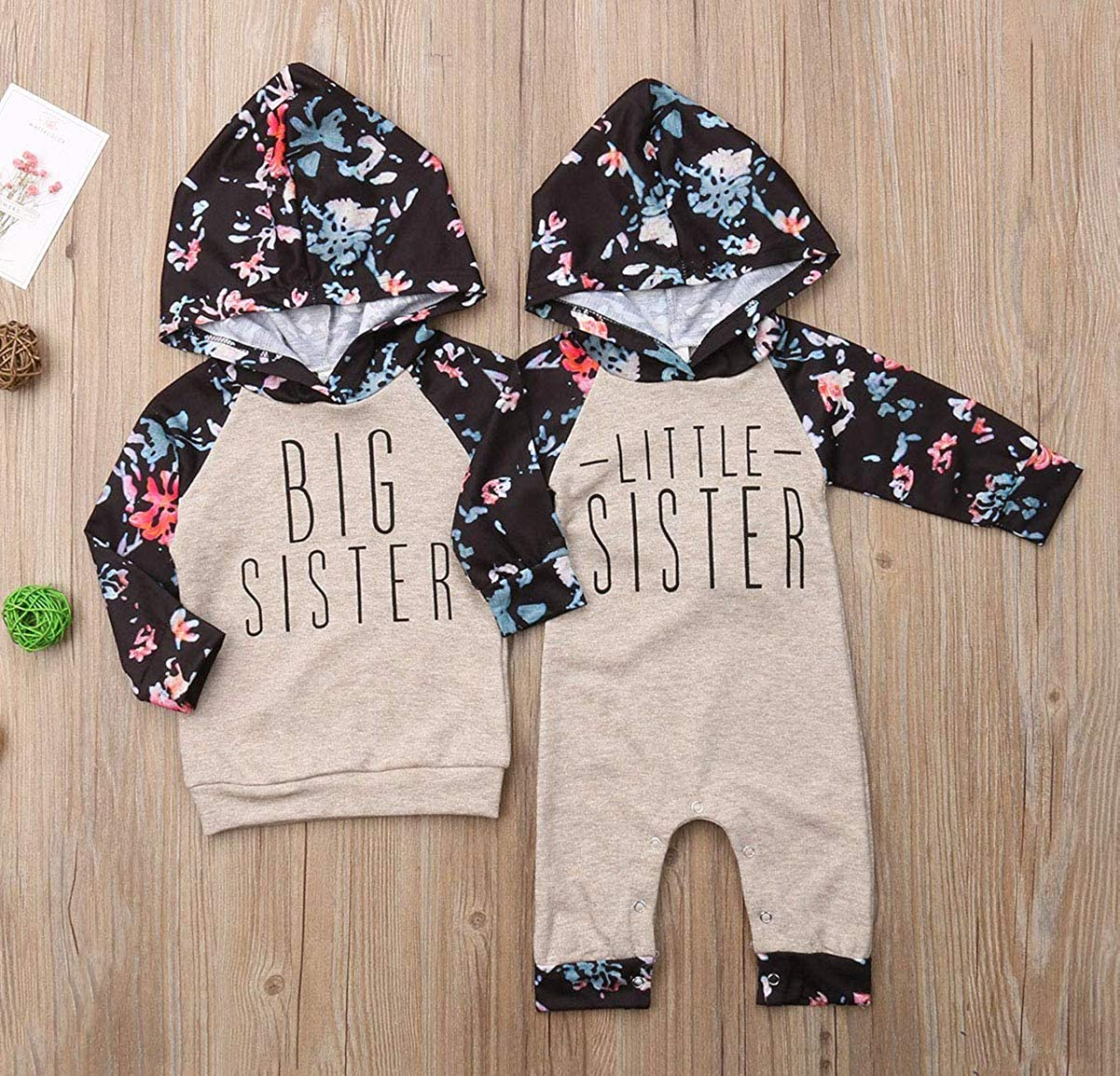 Baby Girl Sister Matching Floral Clothes Long Sleeve Floral Bodysuit Hooded Sweatshirts Top Kids Jumpsuit Romper Outfit