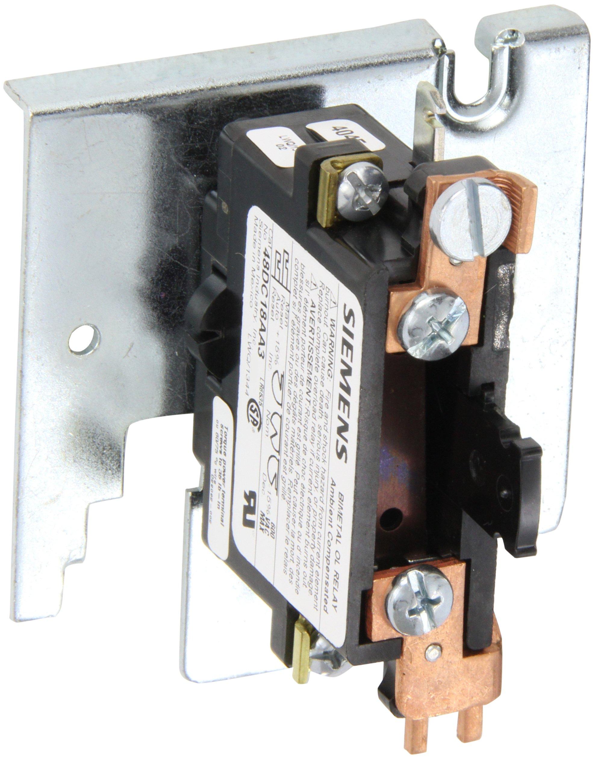 Siemens 48DC18AA3 Overload Relay, 1 NC Ambient Comp Bimetal, 00-1 Size, P Model, 1 Pole