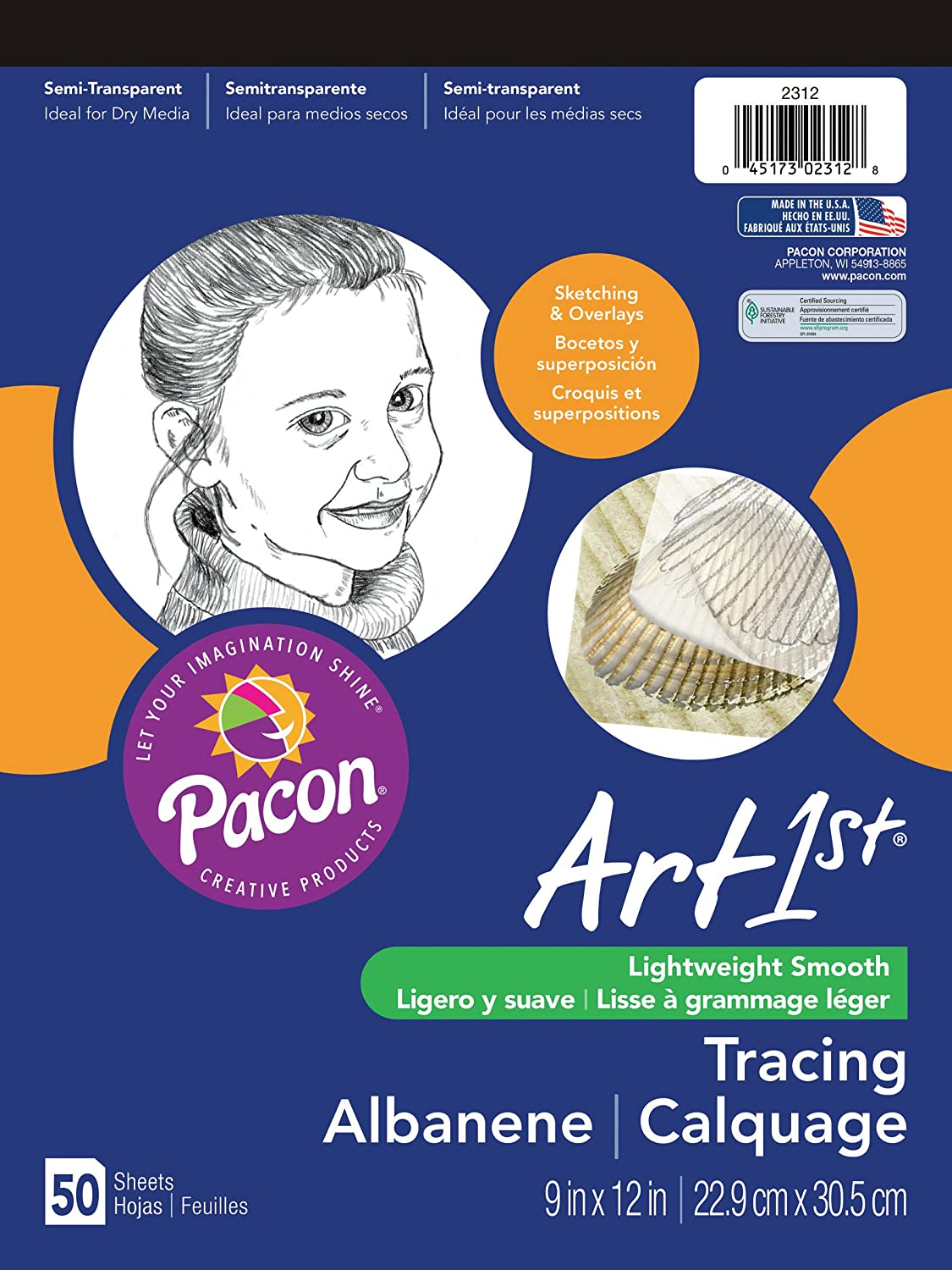 50-Sheet Pacon Art1St Tracing Paper Pad 9x12-Inch 2312