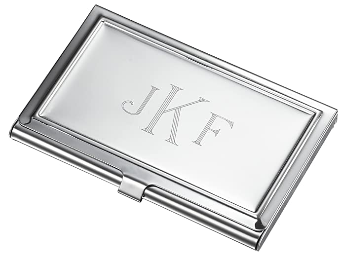 Personalized business card holder with free engraving in monogram personalized business card holder with free engraving in monogram style reheart Gallery