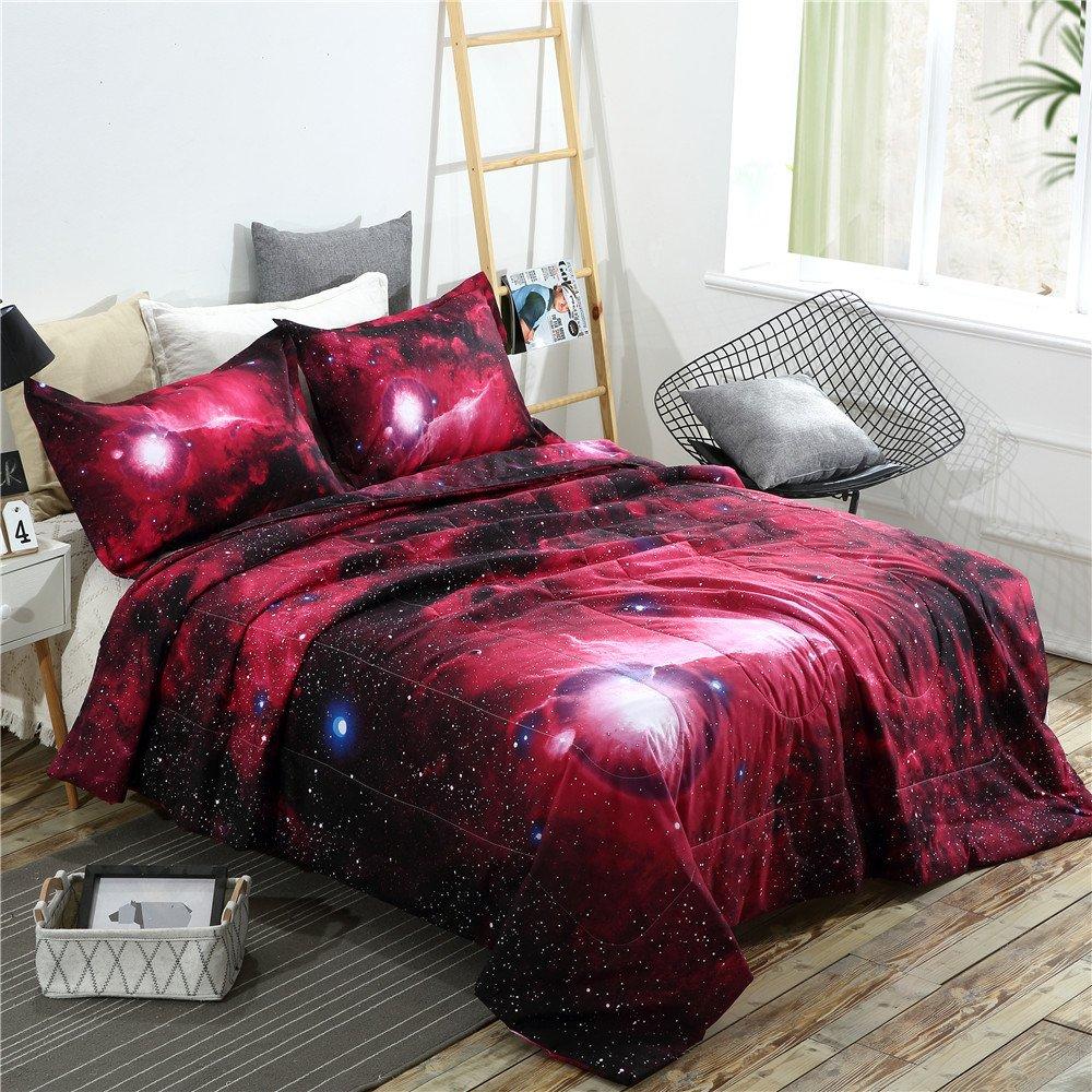 3PCS Galaxy Comforter Set Bedspreads/Coverlet Sets Outer Space Bedding Sets (3pcs,01) YOUSA