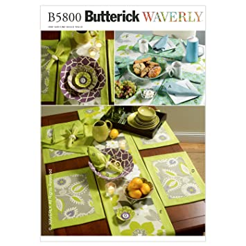 Butterick Patterns B5800OSZ Napkins, Placemats, Table Runner, Table Cloth  And Flower Bowl In