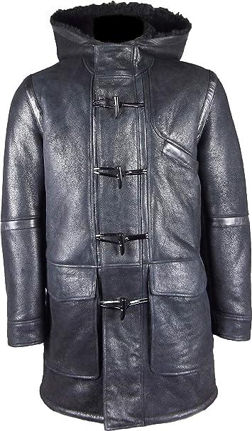 UNICORN Uomo Cappuccio Cappotto di montone Montgomery Duffle - Nero con  pelliccia Nera - Giacca in d8636c38924